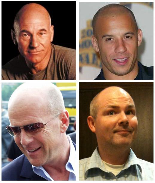In willekeurige volgorde: Vin Diesel, ik, Bruce Willis, Patrick Stewart
