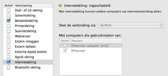 Illustration of internet sharing settings